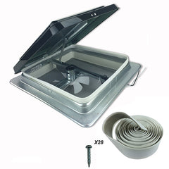 "HENG'S 14"" RV Roof Vent Kit w/ Butyl Tape w/12 Volt Fan Tinted with Tape and Screw"