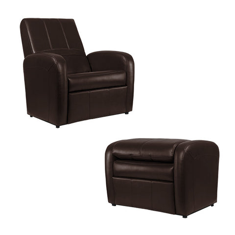 RecPro Charles Gaming Chair Ottoman w/ Storage RV Furniture Mahogany