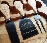 Round Wooden Cheese Board & Four Utensils Set with Engraved Knife - GiftedinDesign