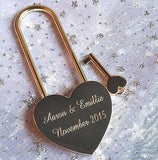 Personalised Engraved 45mm Gold Heart Lock Padlock (Extra Long Shackle) - GiftedinDesign