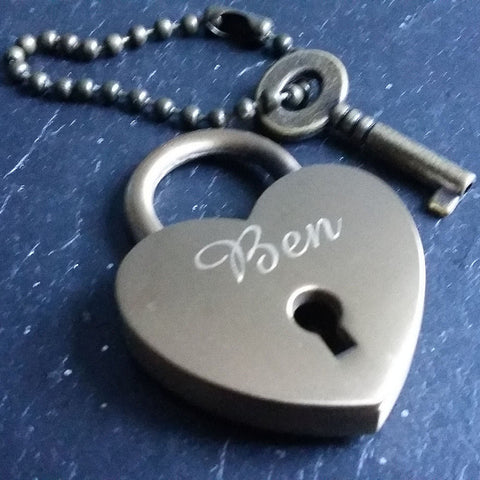 Personalised Engraved 30mm Antique Brass Heart Padlock - GiftedinDesign