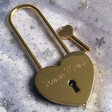 Personalised Engraved 45mm Gold Heart Lock Padlock (Large Shackle) - GiftedinDesign