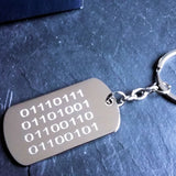 Personalised Engraved Binary Code Chrome Dog Tag Keyring - GiftedinDesign