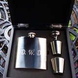 Personalised Engraved 6oz Stainless Steel Hip Flask Wooden Box Set - Giftedindesign - 2