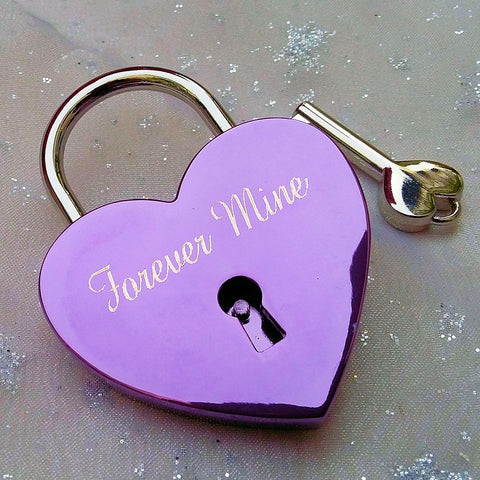 Personalised Engraved 45mm Purple Heart Padlock - GiftedinDesign