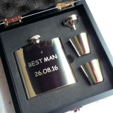 Personalised Engraved 6oz Stainless Steel Hip Flask Wooden Box Set - Giftedindesign - 6