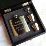Personalised Engraved 6oz Stainless Steel Hip Flask Wooden Box Set - GiftedinDesign