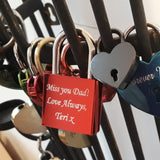 Personalised Engraved Large Red Square Padlock - GiftedinDesign