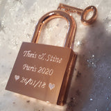 Personalised Engraved Large Rose Gold Square Padlock - GiftedinDesign