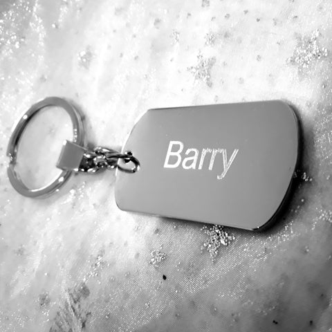 Personalised Engraved Silver Chrome Military Style ID Dog Tag Keyring