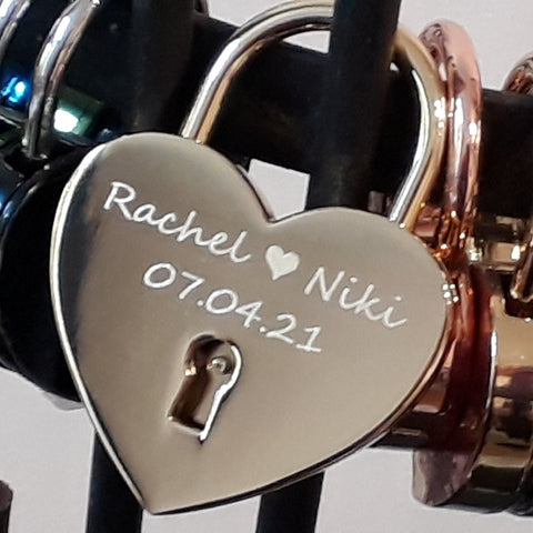 Personalised Engraved 45mm Gold Heart Padlock