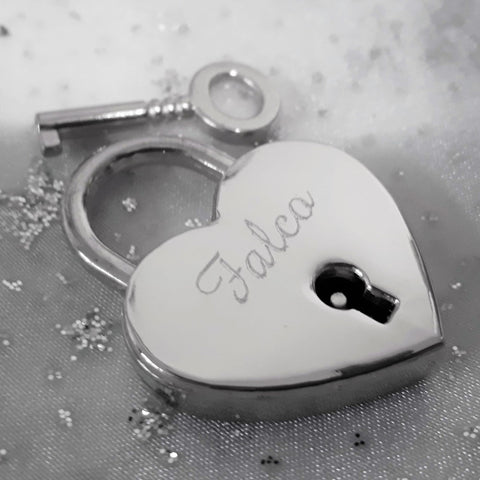 Personalised Engraved 30mm Silver Heart Padlock - GiftedinDesign