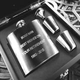 Personalised Engraved 6oz Stainless Steel Hip Flask Wooden Box Set - Giftedindesign - 1