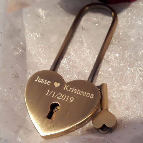 Personalised Engraved 45mm Antique Brass Heart Padlock (Extra Long Shackle) - GiftedinDesign