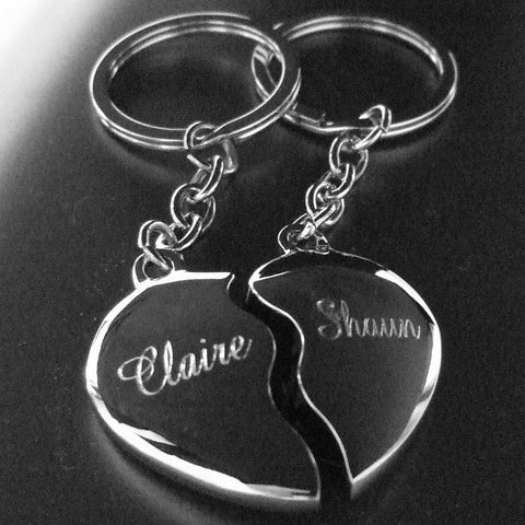 Personalised Engraved Chrome Joining /Split Heart Couple Keyrings - GiftedinDesign