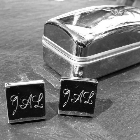 Engraved Chunky Square Rhodium Personalised Cufflinks - Giftedindesign - 1