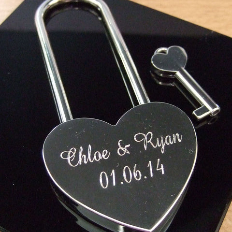 Personalised Engraved 45mm Silver Chrome Heart Padlock (Large Shackle) - GiftedinDesign