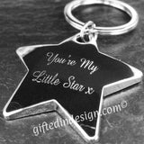Personalised Engraved Silver Chrome Star Keyring - GiftedinDesign