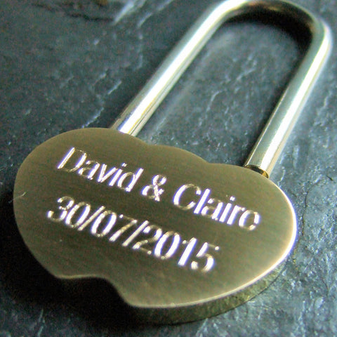 Personalised Engraved Brass One Lock Padlock (Small - 36mm) - GiftedinDesign