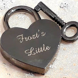 Personalised Engraved 30mm Black Heart Padlock - GiftedinDesign