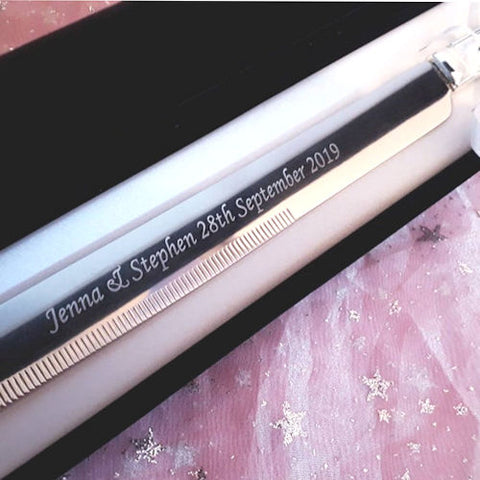 Personalised Engraved Cake Knife with Velvet Gift Box - GiftedinDesign