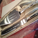 Personalised Engraved Cake Knife and Slice / Server Gift Set - GiftedinDesign