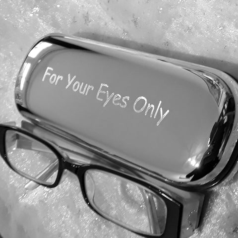Personalised Engraved Chrome Metal Glasses / Spectacles Case
