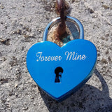 Personalised Engraved 45mm Blue Heart Padlock - GiftedinDesign