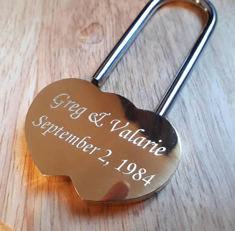 Personalised Engraved Brass LoveLock Padlock (Large - 60mm) - GiftedinDesign