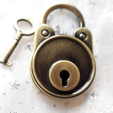 Personalised Engraved Round Antique Brass Padlock - GiftedinDesign