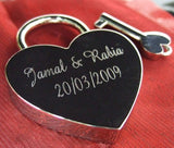 Personalised Engraved 45mm Rainbow Heart Padlock - GiftedinDesign
