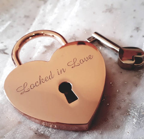 Personalised Engraved 45mm Rose Gold Heart Padlock - GiftedinDesign