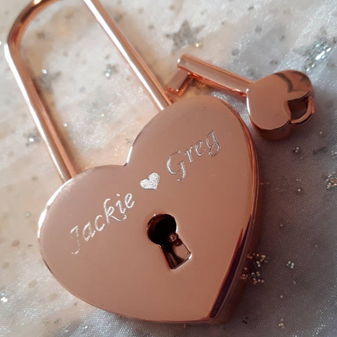 Personalised Engraved 45mm Rose Gold Heart Lock Padlock (Extra Long Shackle) - GiftedinDesign