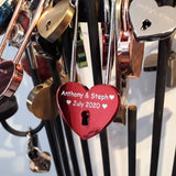 Personalised Engraved 45mm Red Heart Lock Padlock (Extra Long Shackle) - GiftedinDesign