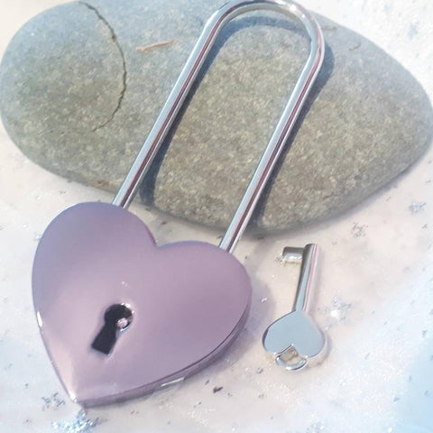 Personalised Engraved 45mm Purple Heart Lock Padlock (Long Shackle)