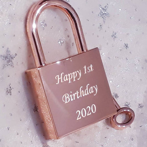 Personalised Engraved Large Rose Gold Square Padlock