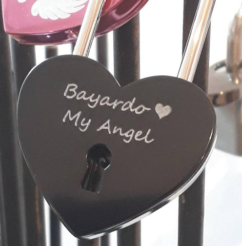 Personalised Engraved 45mm Black Heart Padlock (Long Shackle)