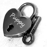 Personalised Engraved 30mm Black Heart Padlock