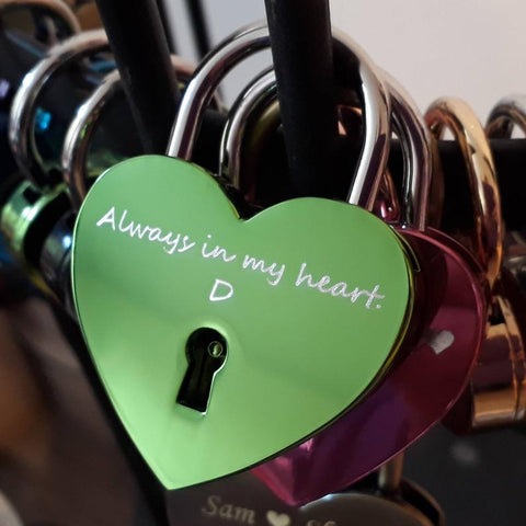 Personalised Engraved 45mm Green Heart Padlock
