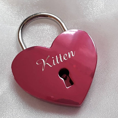 Personalised Engraved 45mm Pink Heart Padlock - GiftedinDesign