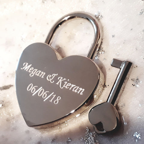 Personalised Engraved 45mm Silver Chrome Heart Padlock - GiftedinDesign
