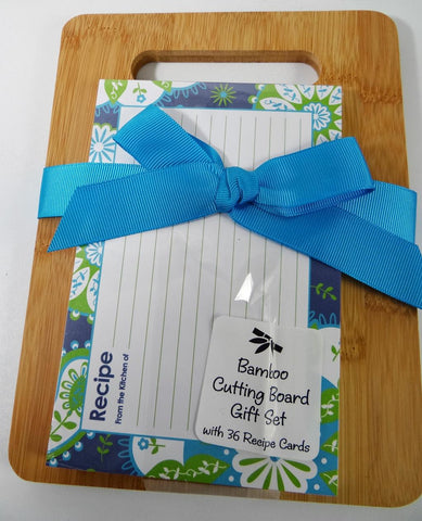 Bamboo Cutting Board Gift Set Recipe Cards Brownlow Blue Green