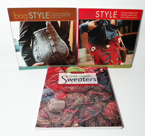 Craft Books Lot of 3 Knitting Books Bags Style-Simply Beautiful Sweaters-Folk Style