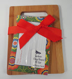 Orange & Green Floral Bamboo Cutting Board Gift Set Recipe Cards Brownlow