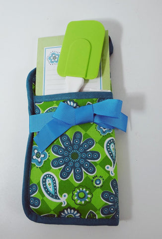 Potholder Gift Set Potholder Spatula Notepad By Brownlow Blue Green Print