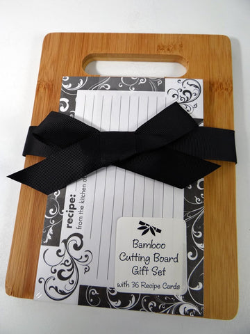 Black & White Bamboo Cutting Board Gift Set Recipe Cards Brownlow