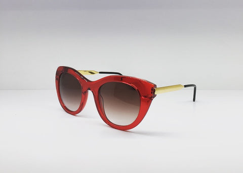 THIERRY LASRY - POETRY cat-eye style red and gold-tone sunglasses