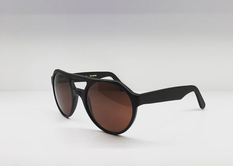 SEATTLESUNGLASS.COM: CAPE TOWN aviator-frame matte black polarized acetate sunglasses BY L.G.R