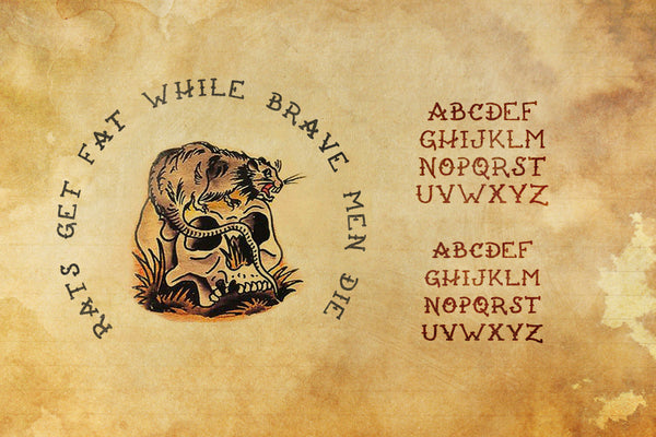 Rats Get Fat tattoo font by Out of Step Font Company