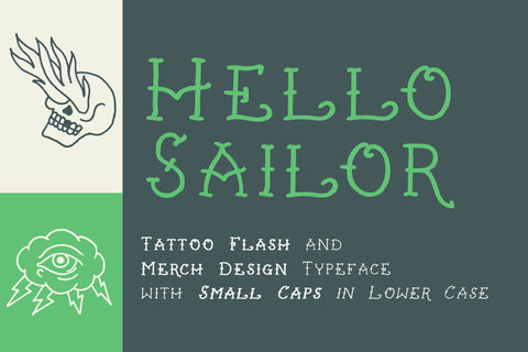 Hello Sailor traditional tattoo font by Out of Step Font Company
